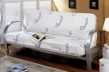 Contemporary Arm Futon Frame -available in silver or black finishes