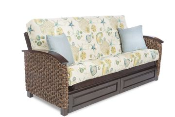Anchor Bahama Futon Frame - Rattan and Wood Arms -Shown with optional drawers.