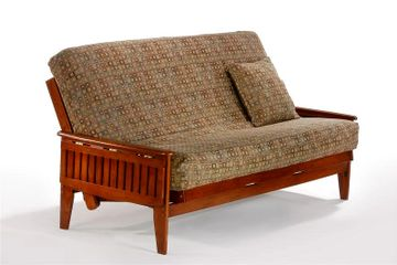Night and Day Naples Tray Arm Futon Frame - Cherry Finish - pictured with tray arms down.