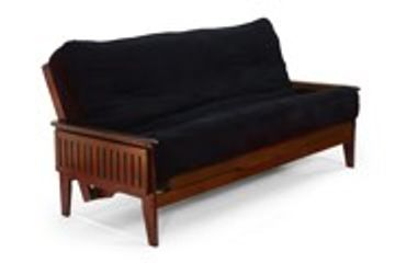 Night and Day Naples Tray Arm Futon Frame - Black Walnut Finish - pictured with tray arms down.