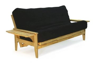 Night and Day Naples Tray Arm Futon Frame - Natural Finish - pictured with tray arm up.