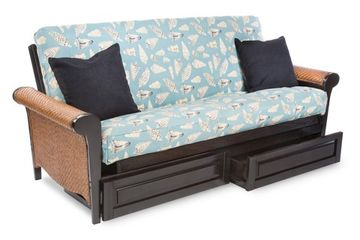 Anchor Panama Futon Frame - Rattan and Wood Arms -Shown with optional drawers.