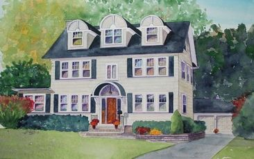 house portraits, watercolor house paintings