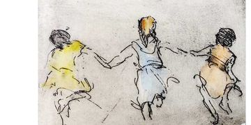 helen frank, etching, watercolor, summer friends, nj artist, local artist