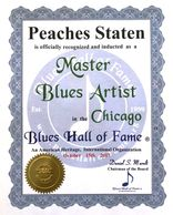 Peaches Staten Blues Hall of Fame Induction Seal