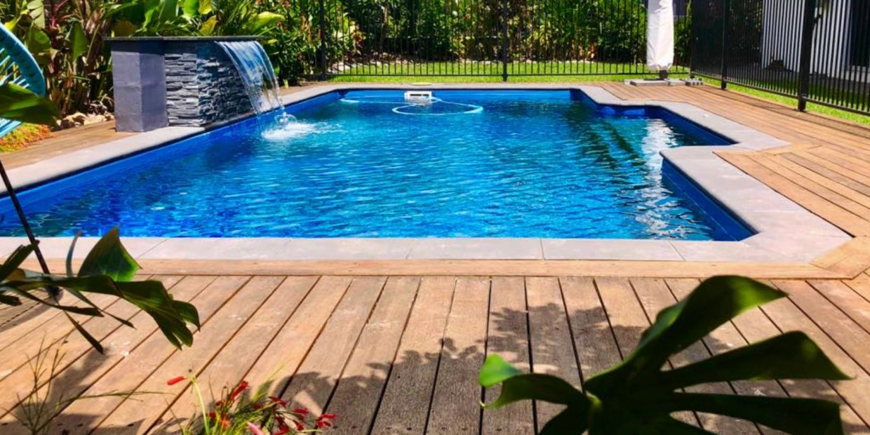 Merbau deck around majestic fibreglass pool Muirhead