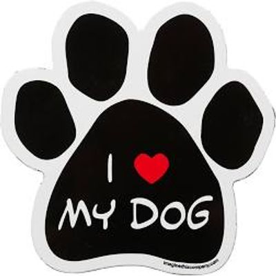 "A PRINT OF A BLACK DOG PAW WITH THE WORD ""i"" THEN A RED HEART FOLLOWED BY THE WORDS ""MY DOG"""