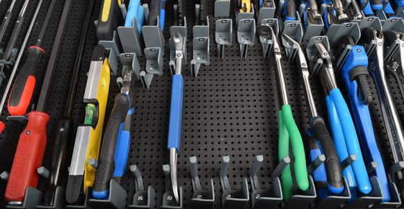 Toolgrid organization system board holders tool grid tools clean screw driver socket wrench air tool