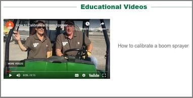 Sprayer calibration video