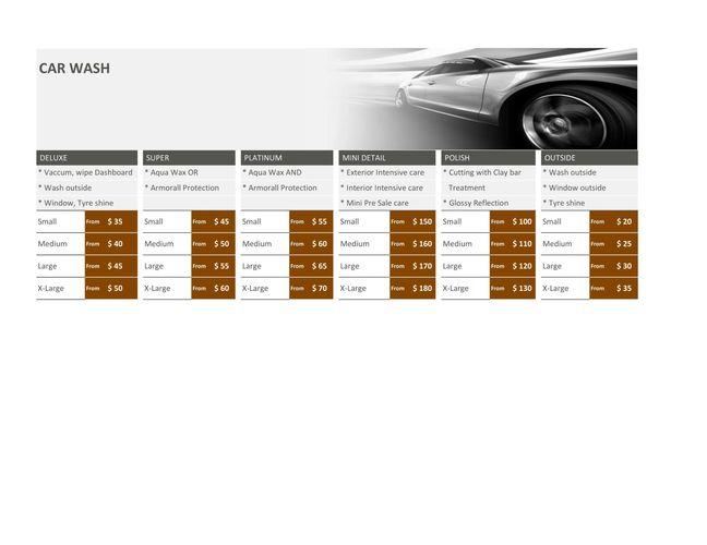 Service Price Lists Dr Car Wash Detailing