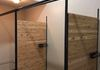 Custom steel and ceder changing rooms for Flow Yoga, Barre and Fitness in The Dalles.