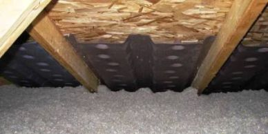 Attic Insulation - Blown In Cellulose with Attic Baffles. Without baffles, you must keep vents clear of insulation, which means the space around the vent typically receives no blanket of protection.
