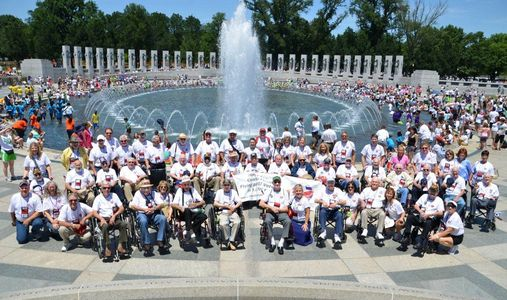 Veterans at the WWII Memorial in Washington DC