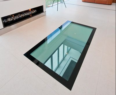Walk on floor glass with black painted border