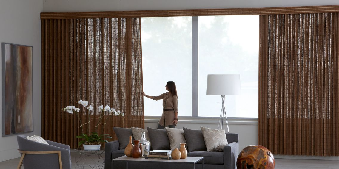 Averte Natural Fold, affordable window treatments, over large windows in Panama City Florida