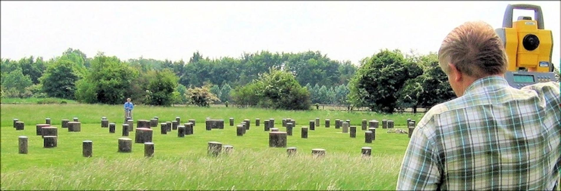 2008 photo of Jenk's brothers surveying Woodhenge with theodolite GPS work station
