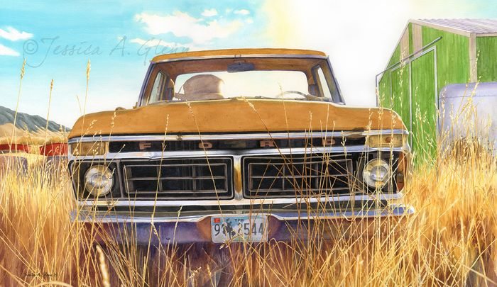 """Big Horn County Suncatcher"" Watercolor painting of a vintage Ford truck in a Western landscape."
