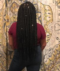 Adult Medium Extended Box Braids; $150; 4-6 hours