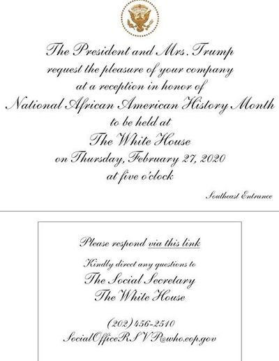 Invitation to Chairman Tyrone Jones of Fayette County, Georgia Republican Party to attend the White House reception honoring National African American History Month
