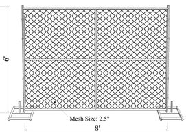 6'x8' temporary fence panels chain link fabric infilled mesh