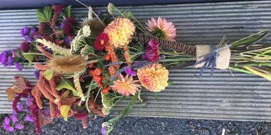 Natural style tribute, funeral sheaf bouquet. Alton, Farringdon, Selborne, Hampshire.