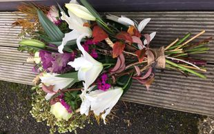 Natural funeral spray bouquet