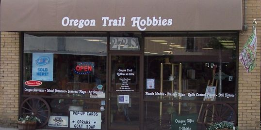 Located on the old Oregon Trail downtown Ontario  A full line hobby shop with Gifts & Toys & More