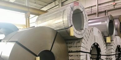 Steel coils at Ponce Metals Inc ready to process.