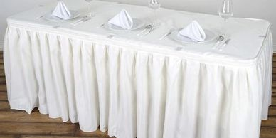 event central,tuft skirt,table skirt,black skirt,white skirt,tablecloth,party supplies,party rental