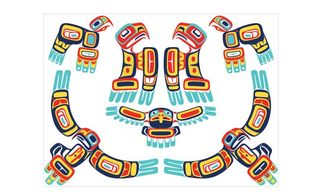 the gathering of eagles blank greeting card designed by haida artist gordon white