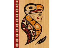 the eagle woman blank greeting card was designed by coast salish, musqueam artist melaney gleeson-ly