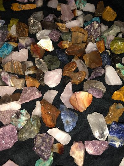 Healing crystals from madagascar and brazil. Rose quartz, citrine, amethyst, lepidolite, clear quart