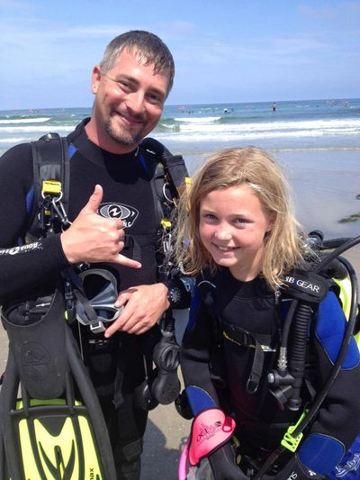 Instructor with scuba student.