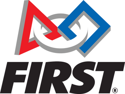 FIRST logo with red triangle, white circle, blue rectangle interlinked together.