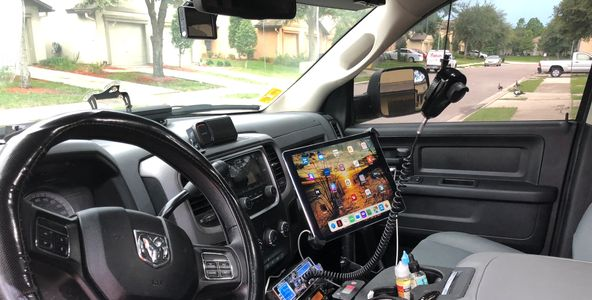 Pilot car / escort vehicle with iPad, printer and dash cams installed.