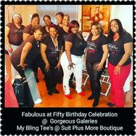 Clients wearing their Rhinestone T-shirts at the 50th Birthday Celebration