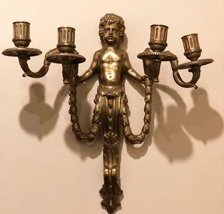 Pair of Bronze Figural Sconces  Antique Lighting  Designer Lighting