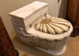 Sherle Wagner Fixtures, Sink and Gilded Water Closet  Antique Fixture Designer Bathroom