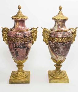Pair of Purple Marble Urns With Rams Heads