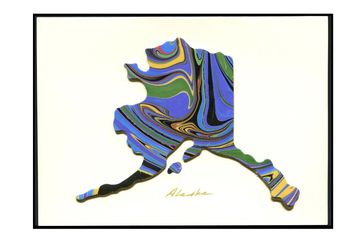 "Design #2312 Shape of Alaska  Size 5""x 7"", requiring only a regular postage stamp."