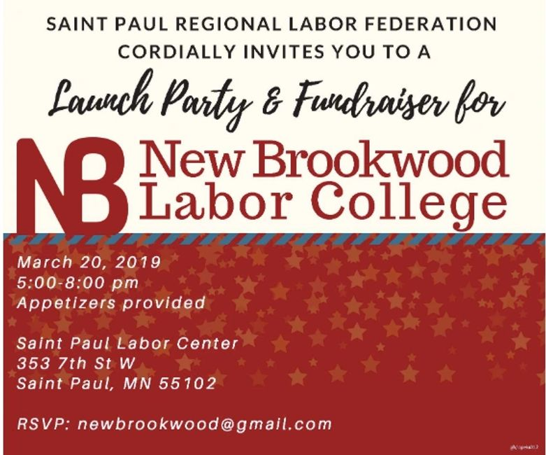Launch party and fundraiser 3/20 5-8pm. Saint Paul Labor Center. RSVP: newbrookwood@gmail.com