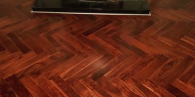 Prefinished Engineered Acacia Herringbone wood flooring aupplied and installed by FloorIT