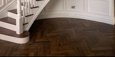 Triple smoked solid herringbone wood flooring supplied and fitted by us here at FloorIT,  Co Donegal