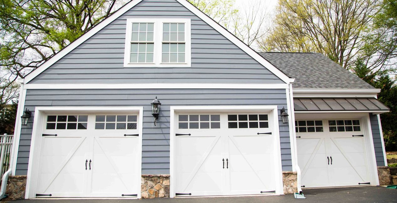 Custom garage siding and stone