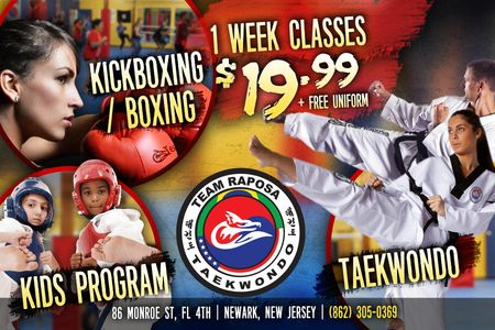 One week of Taekwondo classes, Kickboxing classes, Boxing classes, self defense and kids classes