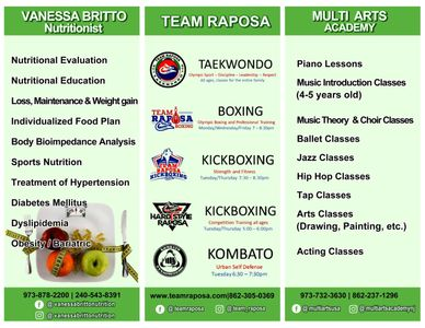 Back to school special event, nutrition, taekwondo, boxing, kickboxing, music, dance, afterschool