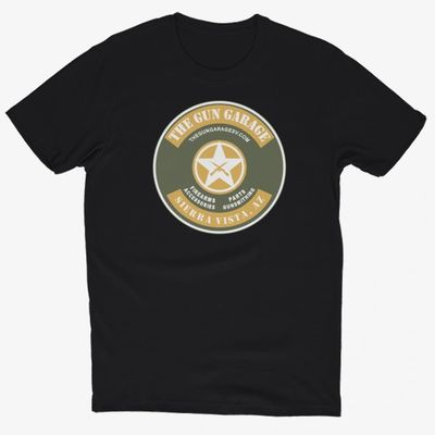 Gun Garage T-shirt with round logo.