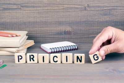 "Wooden blocks forming the word ""Pricing""."