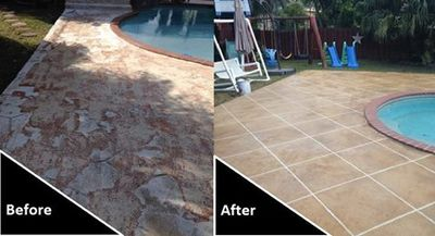 Before and after restoration of pool deck (overlay with design)