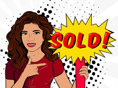 Pop Art of Romana Rodriguez Real Estate Agent holding a SOLD sign.